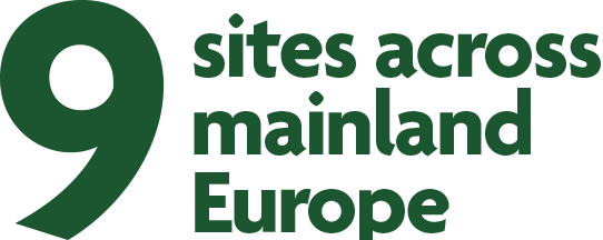 Nine sites across mainland Europe