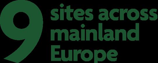 Nine sites across mainland Europe